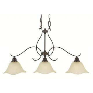 Morningside 3-light Grecian-bronze Chandelier with Glass Shades