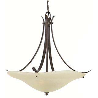 Morningside 3-light Grecian Bronze Glass Pendant