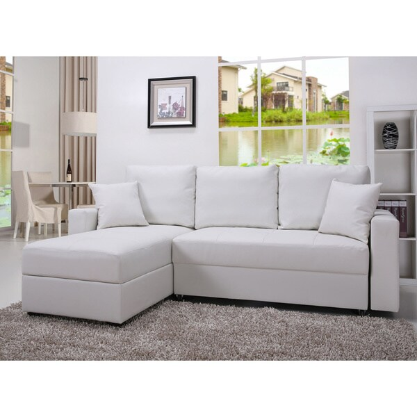 Shop Gold Sparrow Aspen White Convertible Sectional Storage Sofa Bed