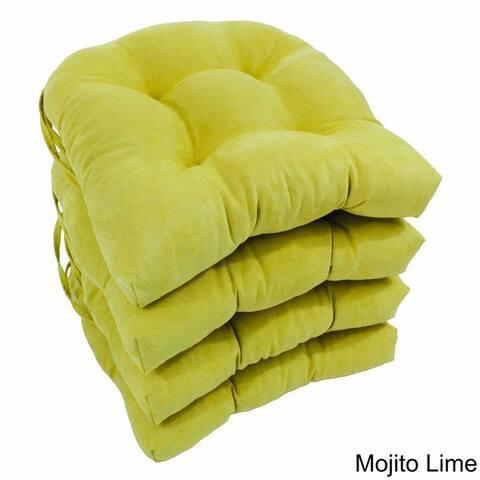 Blazing Needles 16-inch Microsuede U-Shaped Chair Cushions (Set of 4)