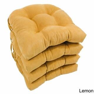 Blazing Needles 16x16-inch Microsuede U-Shaped Dining Chair Cushions (Set of 4)