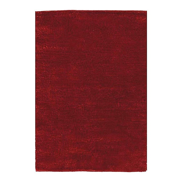 Handwoven Fine Red Polyester Shaggy Rug - 6' x 9'