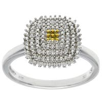 Sterling Silver Pave Yellow and White Diamond Ring