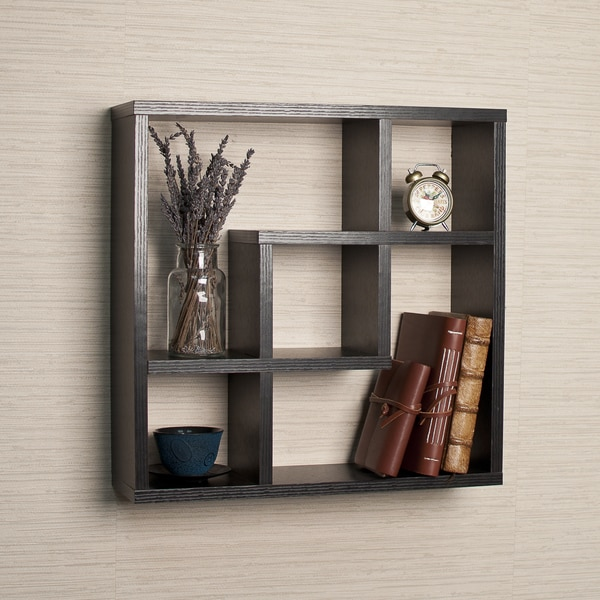 Geometric Square Wall Shelf with 5 Openings