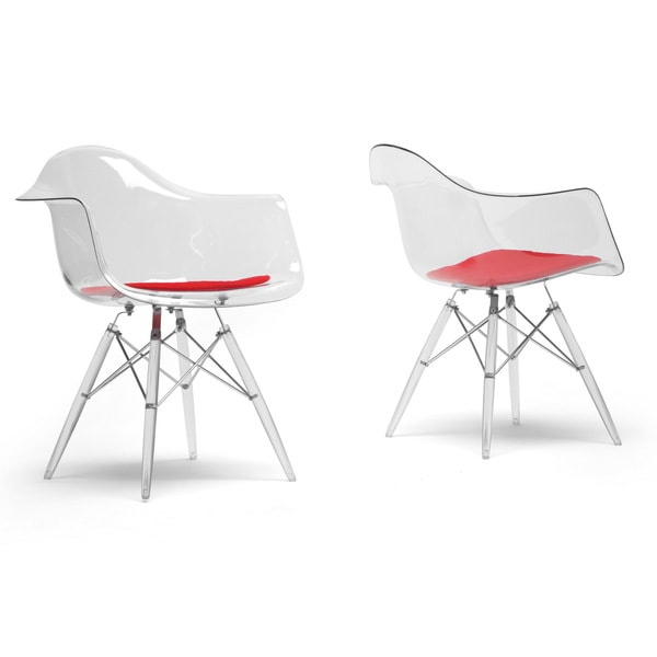 Maisie Clear Plastic Mid-Century Modern Shell Chairs - Arm Chair (Set of 2)