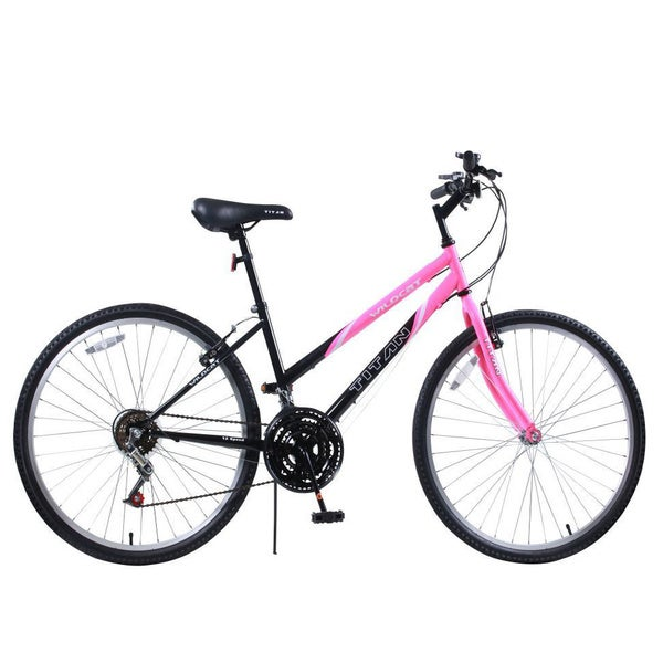 Titan Wildcat 12-Speed Women's Mountain Bike, Bubblegum Pink and Black, 15-inch Frame