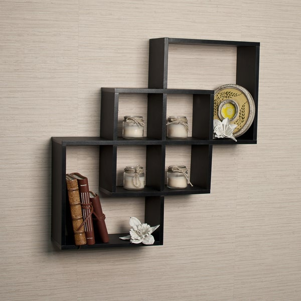 Intersecting Squares Decorative Black Wall Shelf Free Shipping On