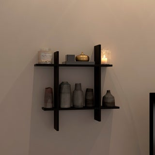 Asymmetric Black Laminate Square Floating Wall Shelf