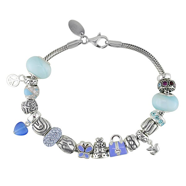 Miadora Sterling Silver Blue Glass and Cubic Zirconia Charm Bracelet