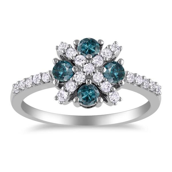Miadora 14k White Gold 3/4ct TDW Blue and White Diamond Ring