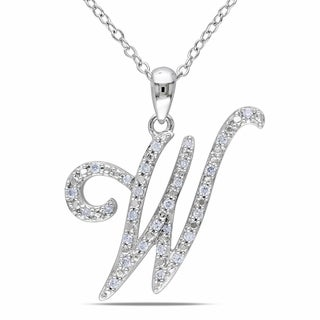 Miadora Sterling Silver 1/6ct TDW Diamond Initial Necklace (G-H, I1-I2)