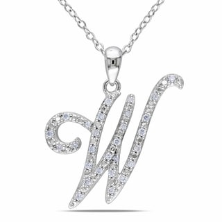 Miadora Sterling Silver 1/6ct TDW Diamond Initial Necklace