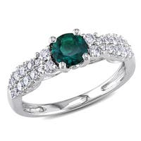 Miadora 14k White Gold Created Emerald and 1/3ct TDW Diamond Ring