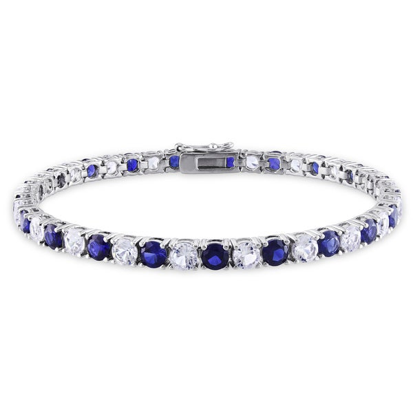 Miadora Sterling Silver Created Blue and White Sapphire Patterned Birthstone Tennis Bracelet