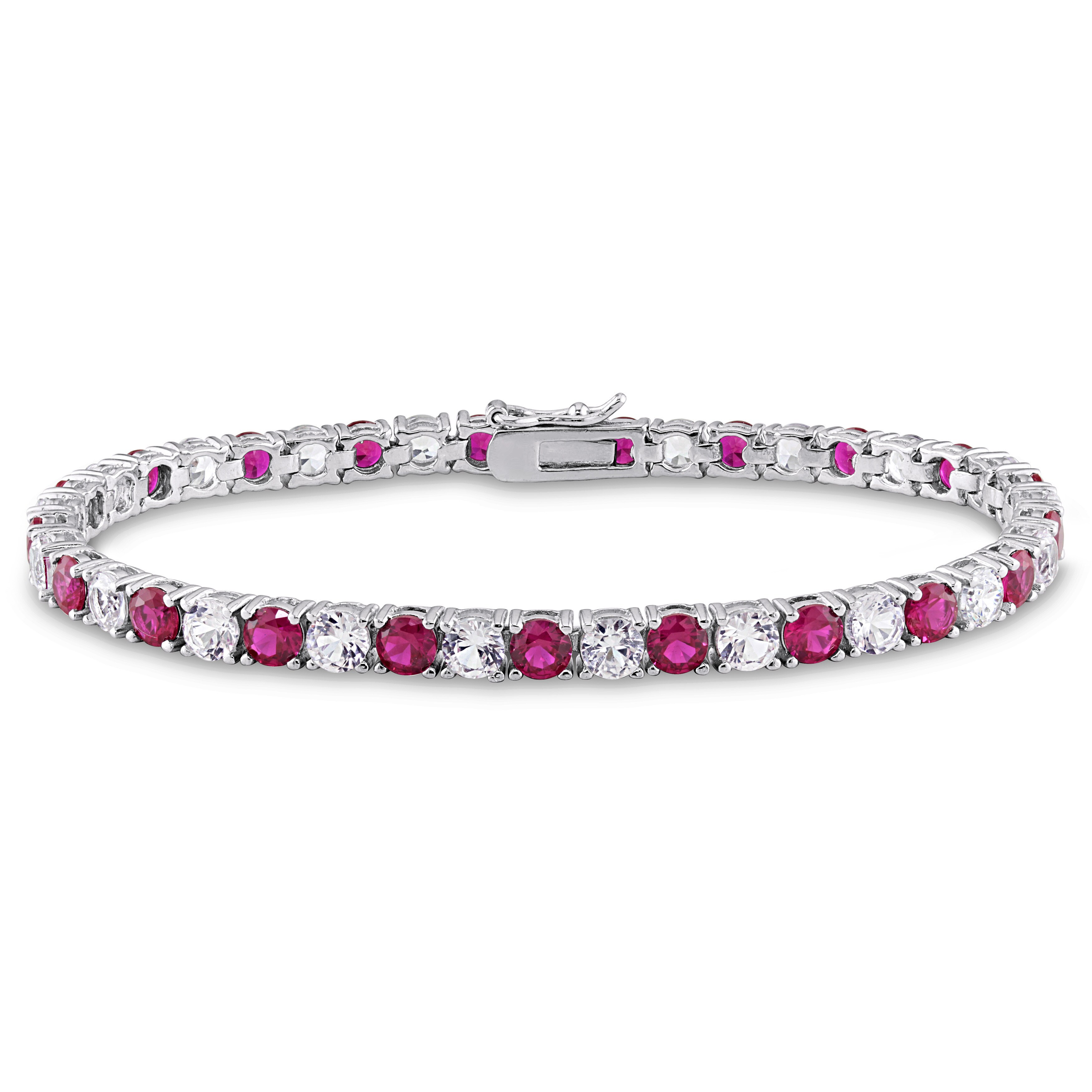 Miadora Sterling Silver Created White Sapphire and Ruby T...