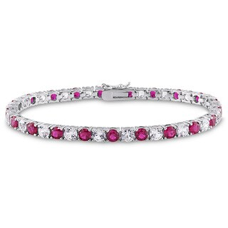 Miadora Sterling Silver Created White Sapphire and Ruby Tennis Bracelet