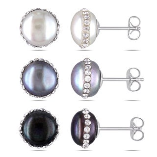 M by Miadora Silver 3-piece Set of Pearl and Crystal Earrings (9-10 mm)