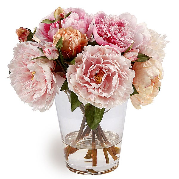Shop Peonies In Multicolor Glass Vase 13 Inch Decorative Plant
