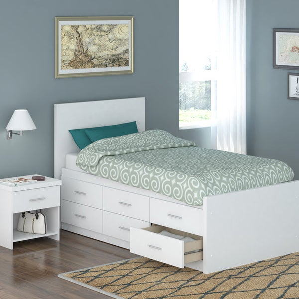 Sonax 4 piece twin size captain 39 s storage bed set with for Headboard dresser and nightstand set