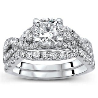 Noori 18K White Gold 1.25ct TDW Round Diamond 2-Piece Ring Set