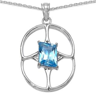 Sterling Silver 5 1/5ct Genuine Fancy-cut Swiss Blue Topaz Pendant