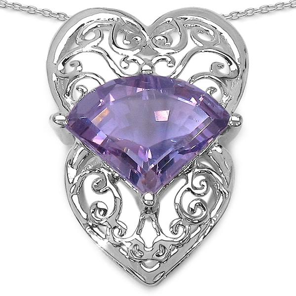 Sterling Silver 7.8ct TGW Genuine Fancy Shape Amethyst Pendant Necklace