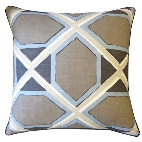 Jiti Blue Mid-Century Modern Geometric Cotton Accent Pillow - 24 x 24