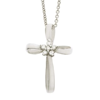 Neda Behnam 14k White Gold 1/10ct TDW Diamond Cross Necklace