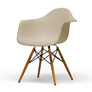 Pascal Beige Plastic Mid-Century Modern Shell Chairs (Set of 2)