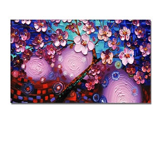 'Pink Flowers' Heavily Textured Spatula Painting