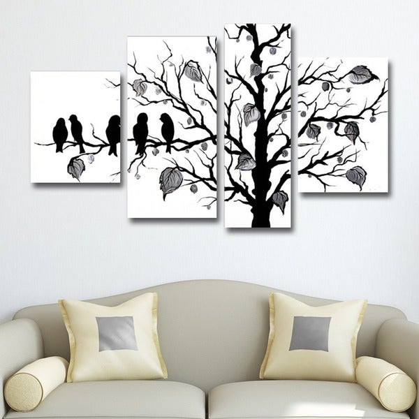 'Abstract Black Birds' 4-piece Hand Painted Canvas Art