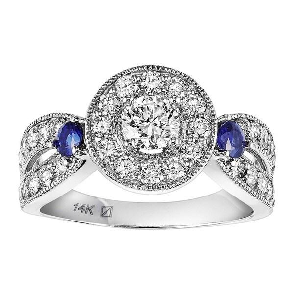 Cambridge 14k White Gold 1 1/5ct TDW Diamond and Blue Sapphire Ring