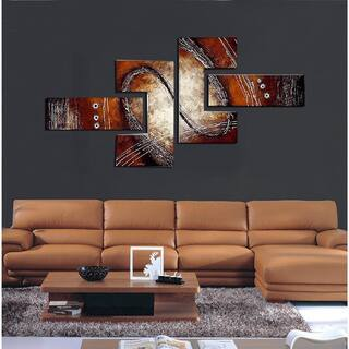 abstract wall art for living room. Abstract Red  Brown Painting 4 piece Hand Painted and Textured Canvas Art Gallery For Less Overstock com