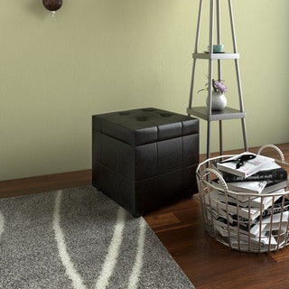 Porch & Den Silver Lake Robinson Tufted Leatherette Ottoman