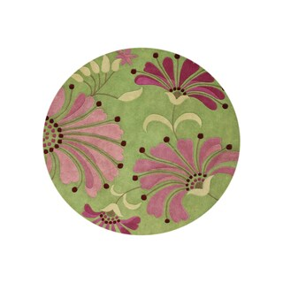 Alliyah Handmade Green New Zealand Blend Wool Rug (6' Round)