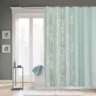 Madison Park Athena Microfiber Floral Shower Curtain