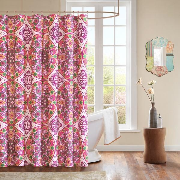 Mi Zone Larissa Shower Curtain with Hooks