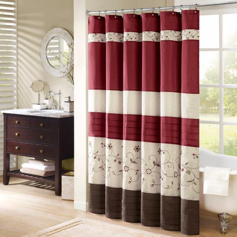 69ee8880 Madison Park Belle Faux Silk Embroidered Floral Shower Curtain 9-Color  Option