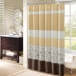 Madison Park Belle Faux Silk Embroidered Floral Shower Curtain (Option: Yellow - 72 x 72)