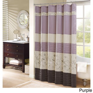 Madison Park Belle Faux Silk Embroidered Floral Shower Curtain (Option: Purple - 72 x 72)