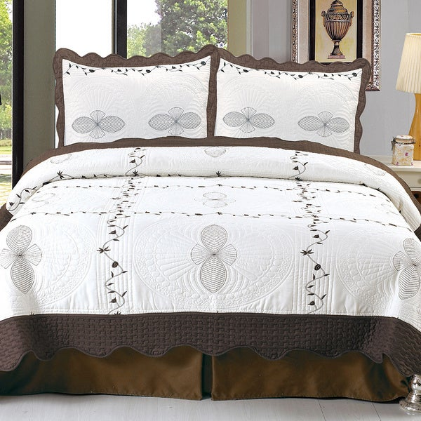Windsor Home Athena Embroidered 3-piece Quilt Set