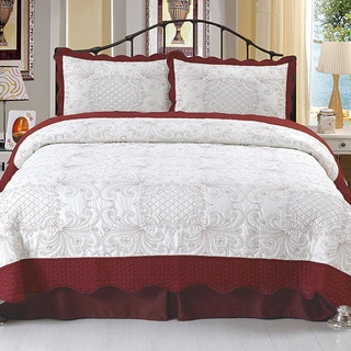 Lavish Home Juliette Embroidered 3-piece Quilt Set