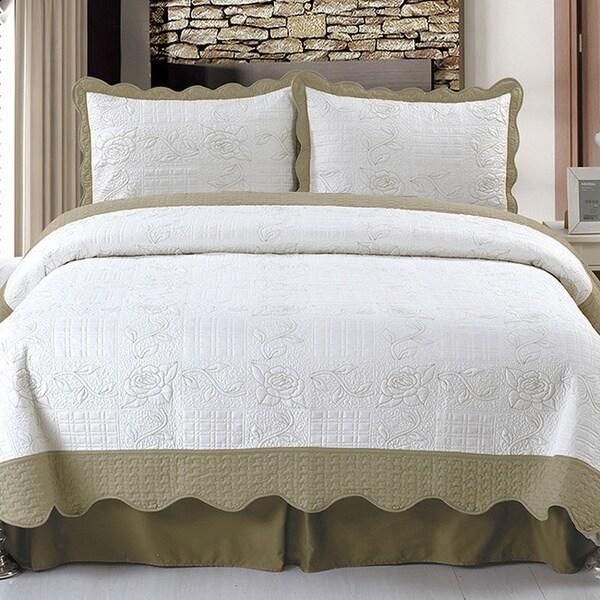 Lavish Home Jeana Embroidered 3-piece Quilt Set