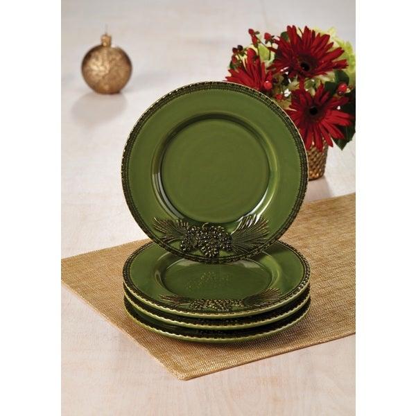 Paula Deen Green Southern Pine 4 Piece Salad Plate Set