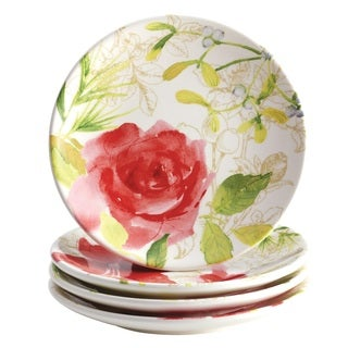 Paula Deen Holiday Floral 4-piece Dessert Plate Set