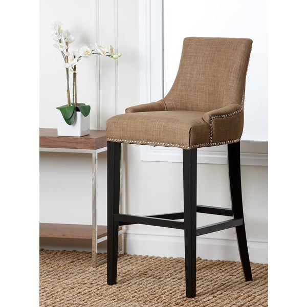 Abbyson Newport Gold Fabric Nailhead Trim Bar Stool Free