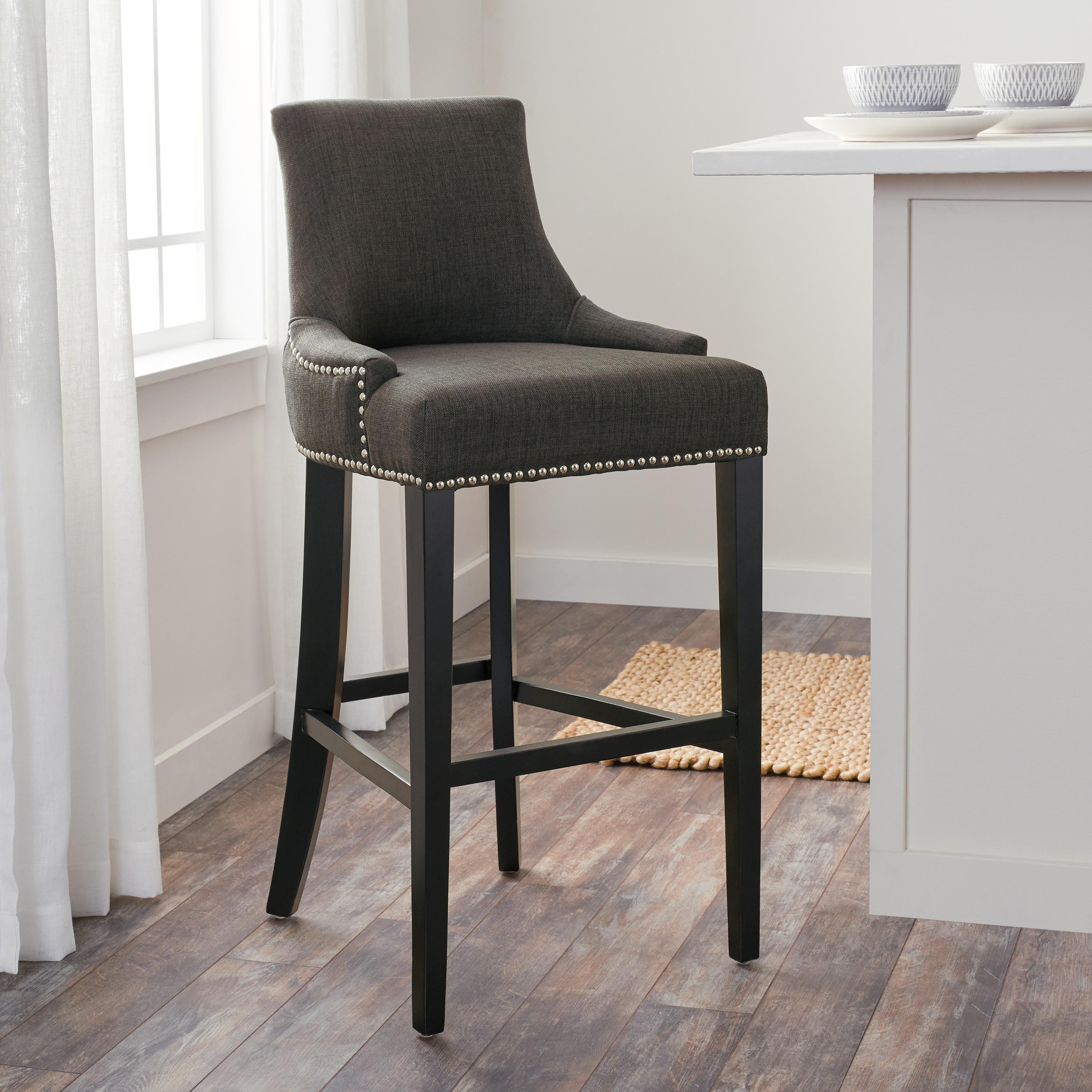 Magnificent Abbyson Newport 30 Inch Grey Fabric Nailhead Trim Bar Stool Inzonedesignstudio Interior Chair Design Inzonedesignstudiocom