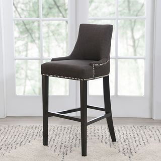Abbyson Newport Grey Fabric Nailhead Trim Bar Stool
