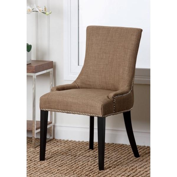 Abbyson Newport Gold Fabric Nailhead Trim Dining Chair