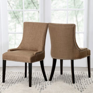 Abbyson Newport Gold Fabric Nailhead Trim Dining Chair